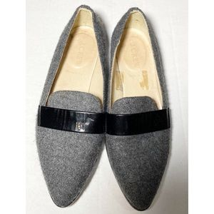 J Crew Academy Wool/patent Leather Gray Loafers